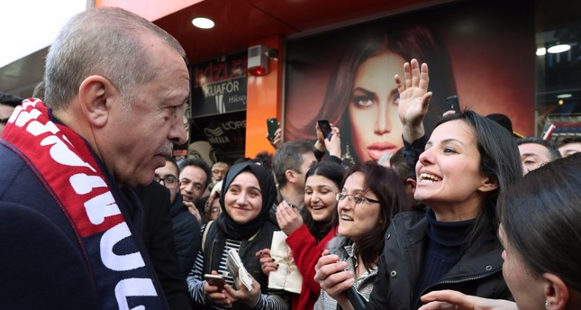 President Recep Tayyip Erdoğan meets supporters in northern Zonguldak province, March 4, 2019.