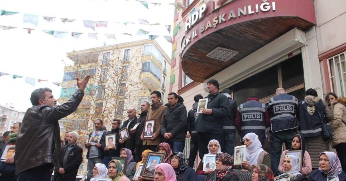 Kurdish families' sit-in protest against PKK/YPG continues in front of HDP headquarters in Diyarbak?r, Feb.3, 2020. (DHA PHOTO)