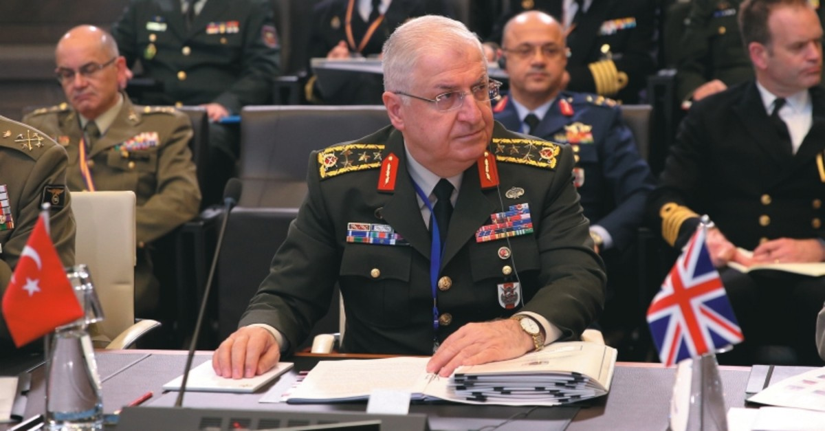 Chief of General Staff Gen. Yau015far Gu00fcler attends NATO Military Committee in Chiefs of Defense session, Brussels, Jan.13, 2020. (AA Photo)