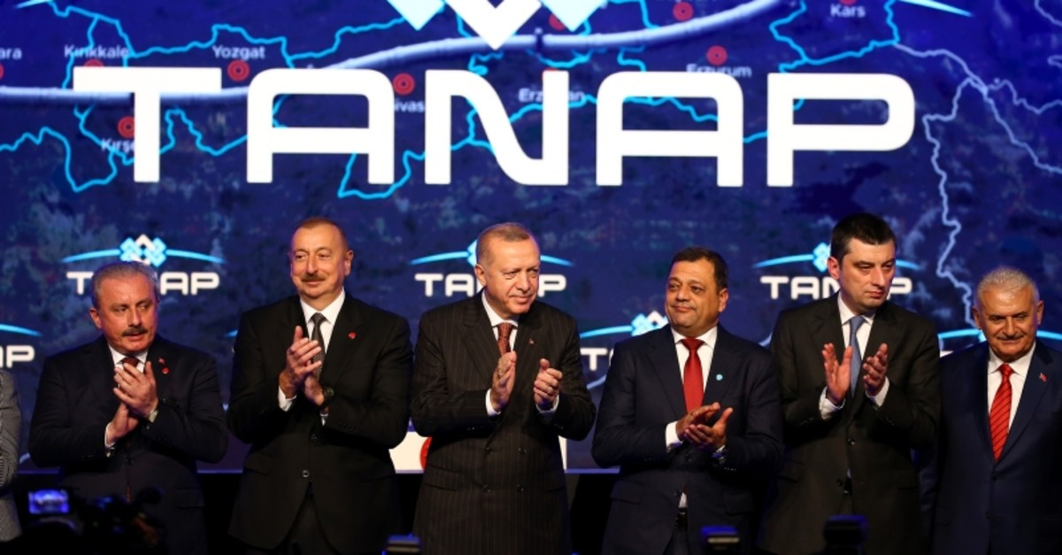 President Recep Tayyip Erdou011fan and Azerbaijani counterpart u0130lham Aliyev attend the opening ceremony of Trans-Anatolian Natural Gas Pipeline (TANAP)-Europe connection in Turkey's Edirne province, on Nov. 30, 2019. (AA Photo)