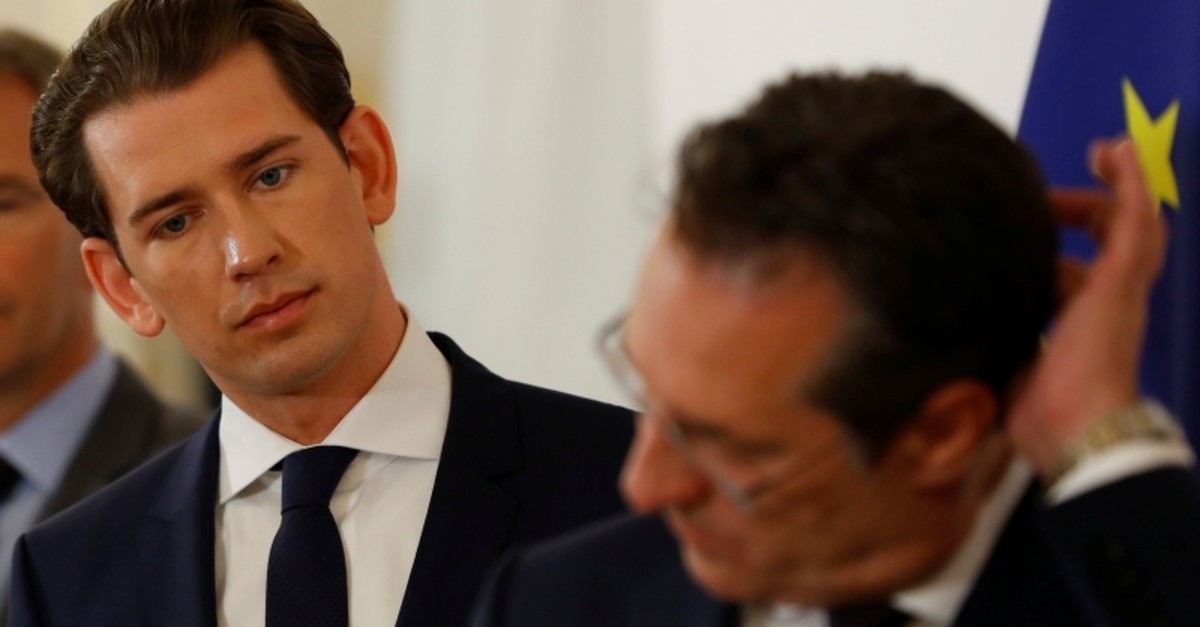 Austria's Chancellor Sebastian Kurz and Vice Chancellor Heinz-Christian Strache address the media in Vienna, Austria April 30, 2019. Picture taken April 30, 2019. (Reuters Photo)