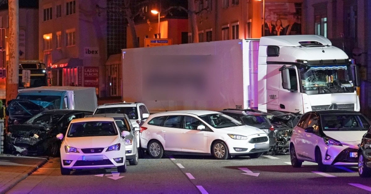 Picture shows the scene where a stolen truck crashed in to cars stopped at a red light in Limburg, western Germany, on October 7, 2019, leaving several people injured (AFP Photo)