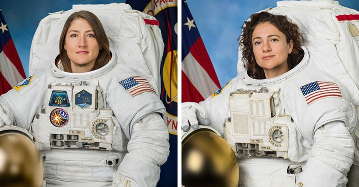 This undated combination photo obtained from NASA shows astronauts Christina Koch (L) and Jessica Meir. (AFP Photo)