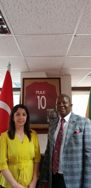 Daily Sabah's Özgenur Sevinç (L) with South African Ambassador to Ankara Pule I. Malefane.