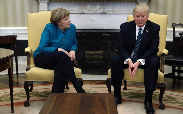 U.S. President Donald Trump meets with German Chancellor Angela Merkel, Washington, March 17.