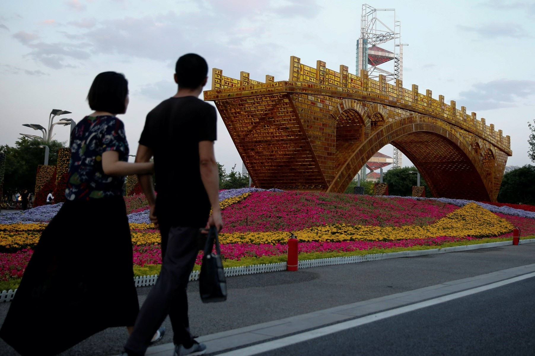 The Golden Bridge on the Silk Road by Artist Shuyong was set up ahead of the Belt and Road Forum in Beijing last year in May.