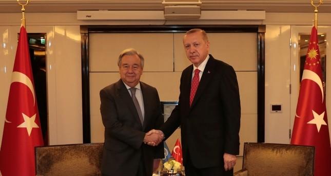 الرئيس أردوغان يستقبل غوتيريش في باريس