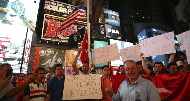 People protest FETÖ's deadly attempted coup in Turkey, showing support for Turkish democracy, New York, July 16, 2016.