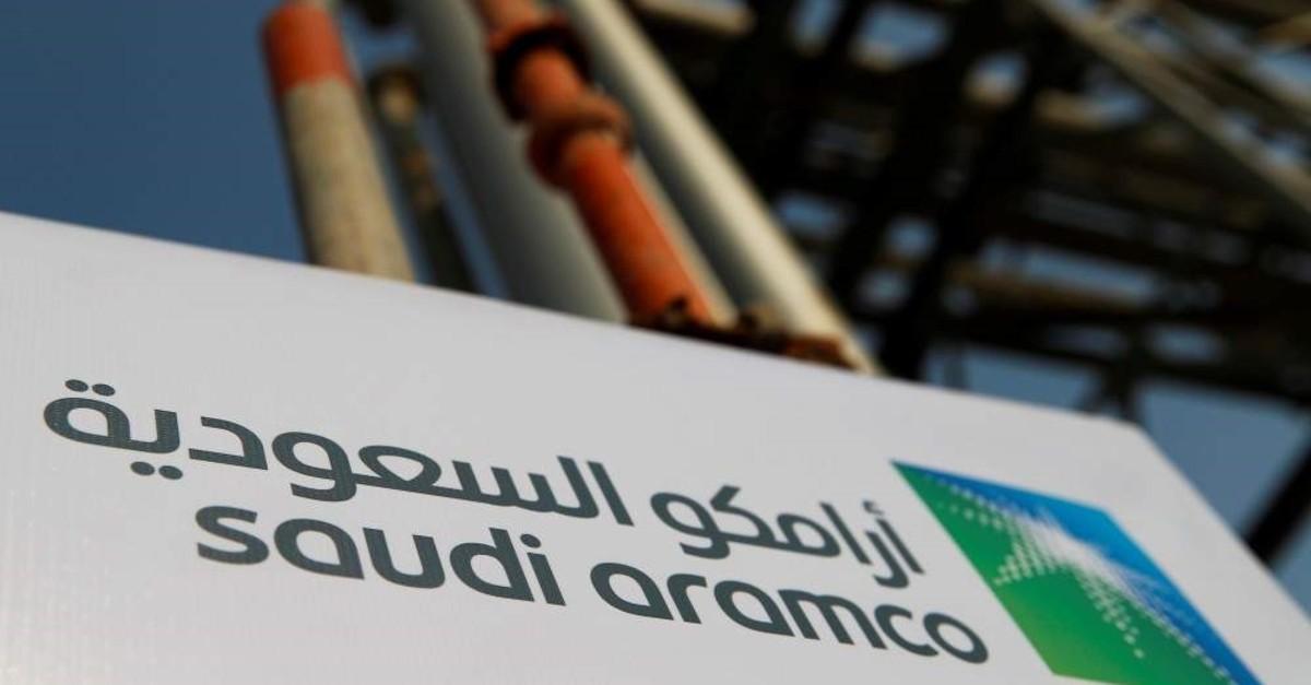 The Saudi Aramco logo pictured at the company's oil facility in Abqaiq, Saudi Arabia, October 12, 2019. (Reuters Photo)