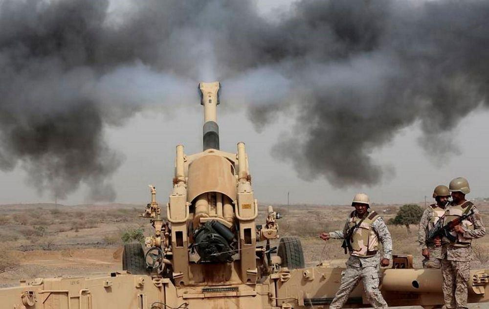 Saudi soldiers fire artillery toward three armed vehicles approaching the Saudi border with Yemen in Jazan, Saudi Arabia.