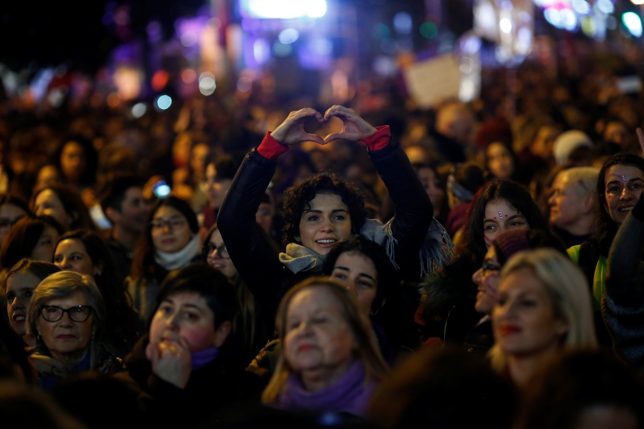 Protesters take part in a demonstration during a nationwide feminist strike on International Womenu2019s Day in Madrid, Spain, March 8, 2018.