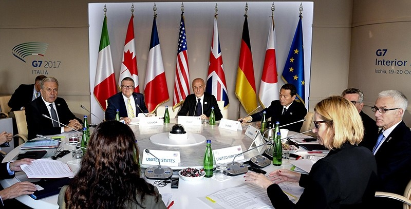 A general view G7 Ministers of the Interior  (L-R) European Commissioner for Migration and Home Affairs Dimitris Avramopoulos,  Canada's Minister of Public Safety Ralph Goodale (EPA Photo)