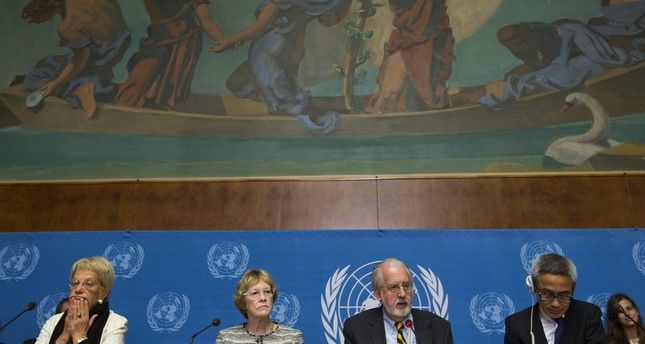 L-R Switzerland's Carla del Ponte, US Karen Koning Abuzayd, and Thailand's Vitit Muntarbhorn, at the the United Nations in Geneva, Switzerland, 16 September 2013. EPA Photo