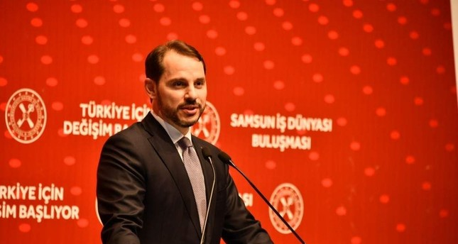 Treasury and Finance Minister Berat Albayrak delivers a speech at a meeting with businesspeople, Samsun, Nov. 7, 2019. ?HA Photo