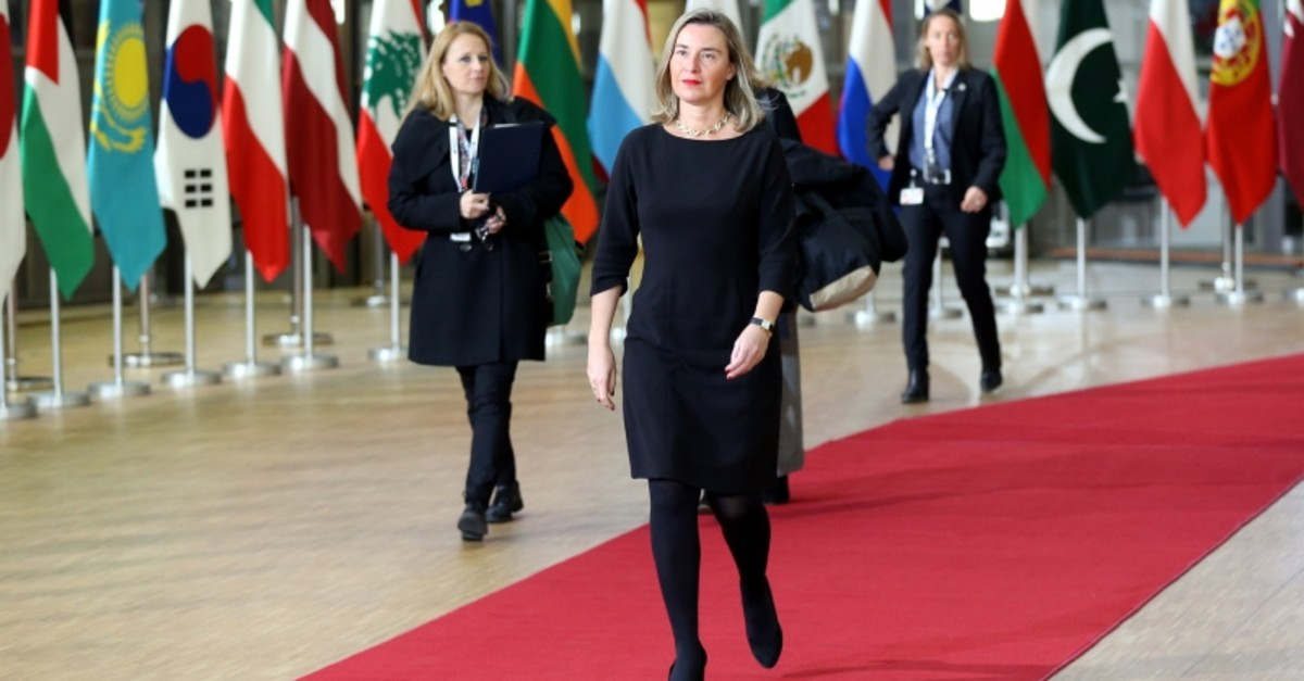 European Union foreign policy chief Federica Mogherini arrives to attend a Syria donors conference at the European Council headquarters in Brussels, Thursday, March 14, 2019. (AA Photo)