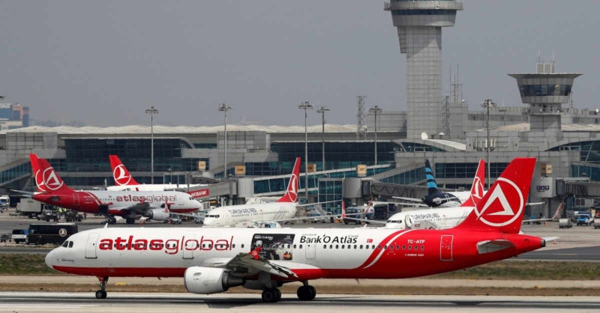 This file photo dated April 3, 2019 shows an Atlasglobal Airbus A321-211 plane preparing to take off at Atatu00fcrk International Airport in Istanbul, Turkey. (Reuters Photo)