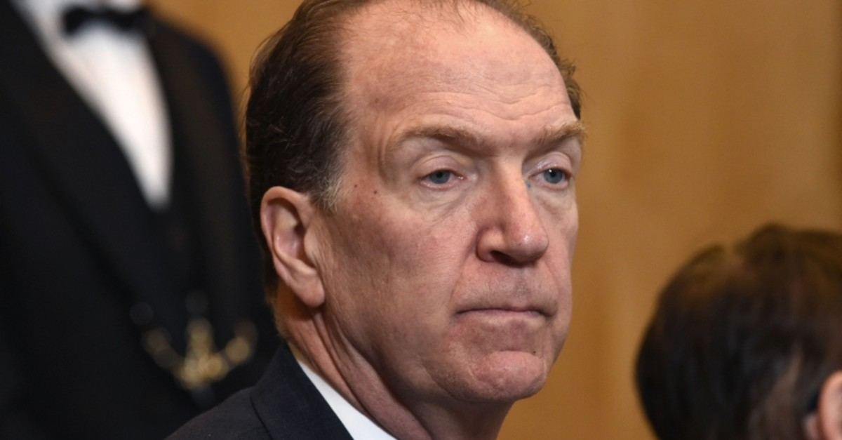 In this file photo taken on Feb. 27, 2019, candidate to lead the World Bank David Malpass listens during a press conference by the U.S. Treasury secretary and French finance minister at the economy ministry in Paris. (AFP Photo)