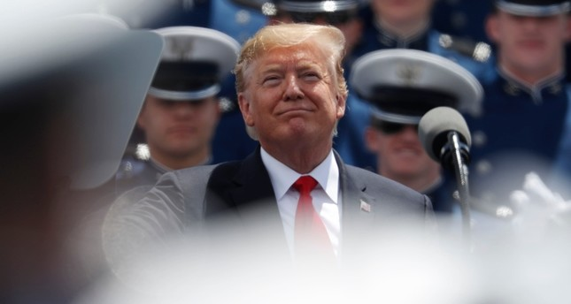 President Donald Trump speaks at the U.S. Air Force Academy graduation Thursday, May 30, 2019 at Air Force Academy, Colo. (AP Photo)