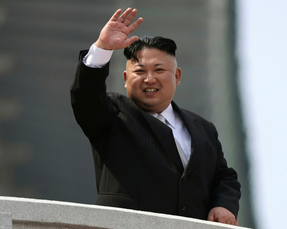 North Korean leader Kim Jong Un waves during a military parade to celebrate the 105th birth anniversary of Kim Il Sung in Pyongyang, North Korea on April 15.