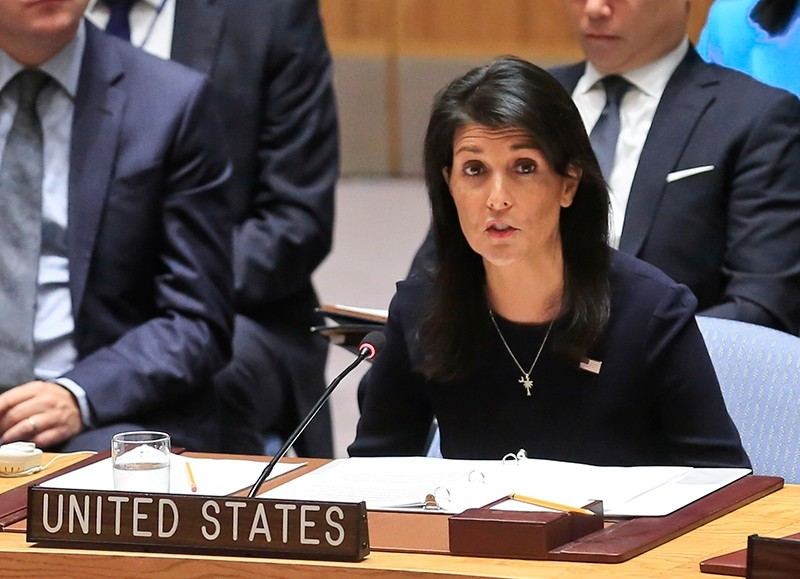 U.S. Ambassador to the United Nations Nikki Haley speaks during a U.N. Security Council emergency meeting over North Korea's latest missile launch, Sept. 4, 2017 at U.N. Headquarters in New York, U.S. (Reuters Photo)