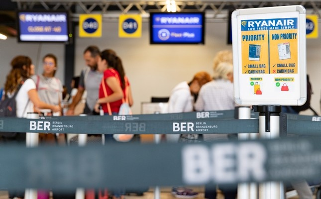 A view of check-in counters of Ryanair at the Schoenenfeld Airport in Berlin, Germany, September 11, 2018. (EPA Photo)