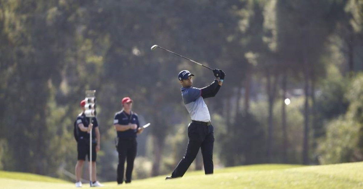 British golfer Aaron Rai takes a shot on the second day of the Turkish Airlines Open, Antalya, Nov. 8, 2019. (AA Photo)