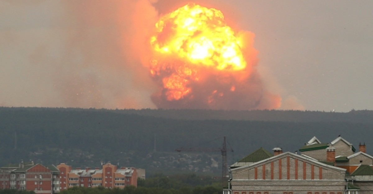A view shows flame and smoke rising from the site of blasts at an ammunition depot near the town of Achinsk in Krasnoyarsk region, Russia August 5, 2019. (REUTERS Photo)