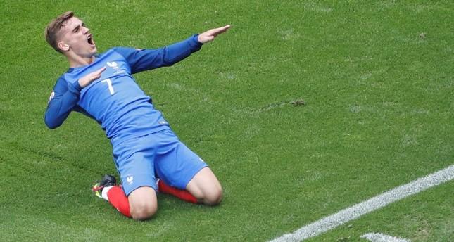 Griezmann celebrates against Slovakia.