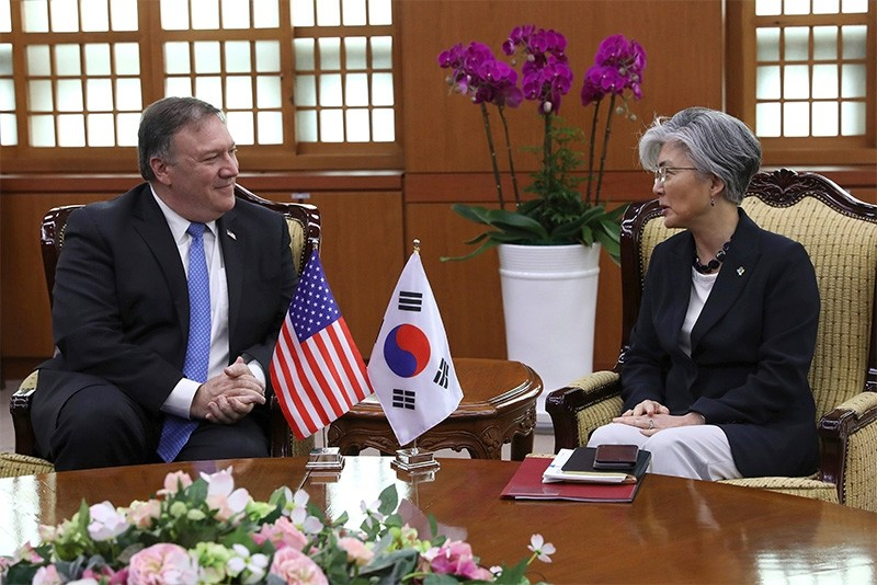 U.S. Secretary of State Mike Pompeo, left, speaks with South Korean Foreign Minister Kang Kyung-wha during a bilateral meeting at Foreign Ministry in Seoul, South Korea, Thursday, June 14, 2018. (AP Photo)