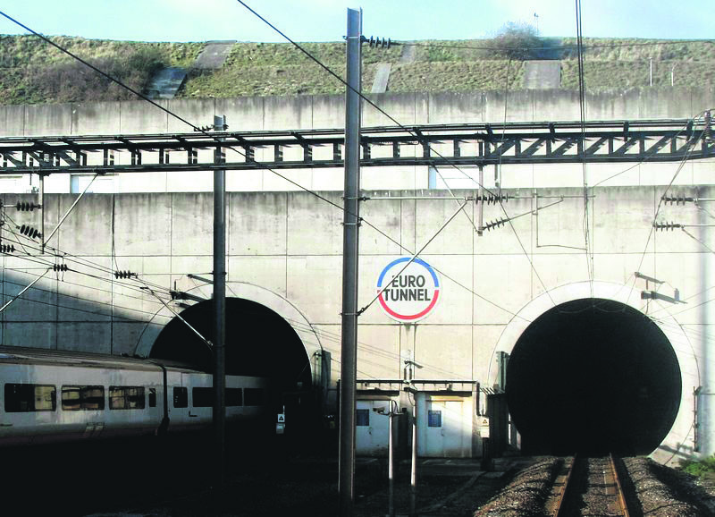A Eurostar train heading to London enters the Channel tunnel to England in Coquelles, northern France, Dec. 10, 2008.