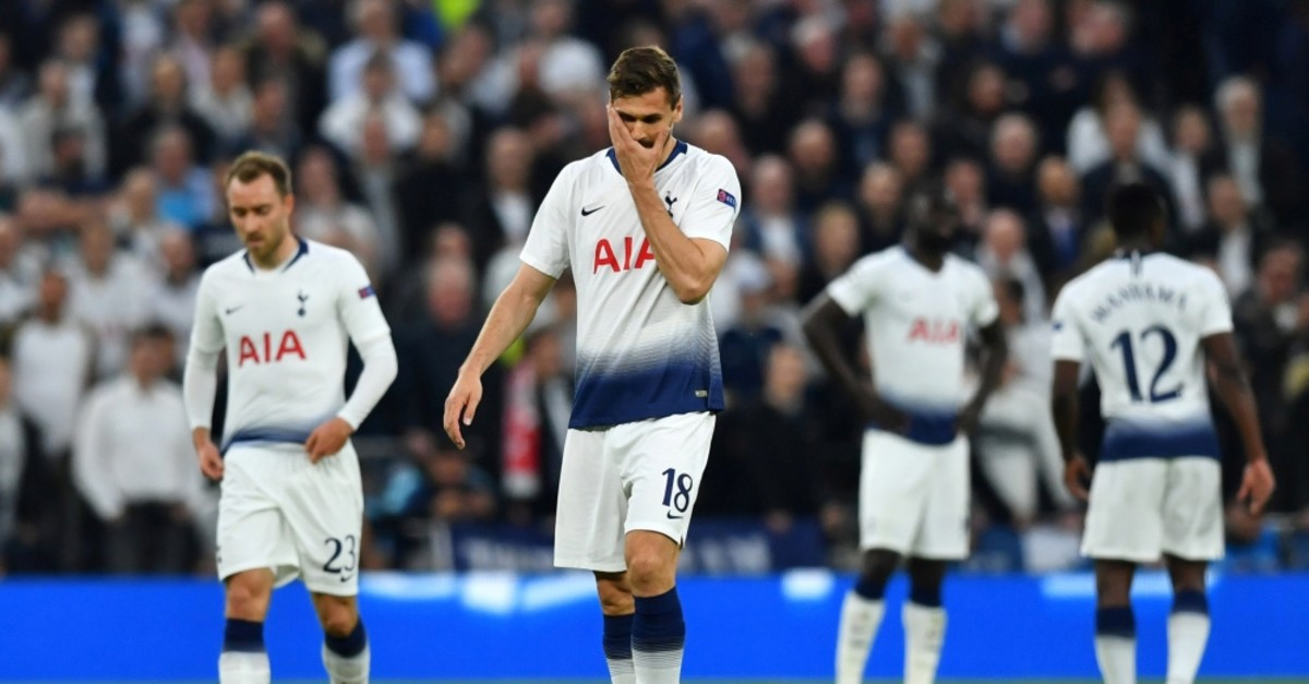 Tottenham's Llorente reacts after conceding their first goal scored by Donny van de Beek in the semifinal first leg, April 30, 2019.