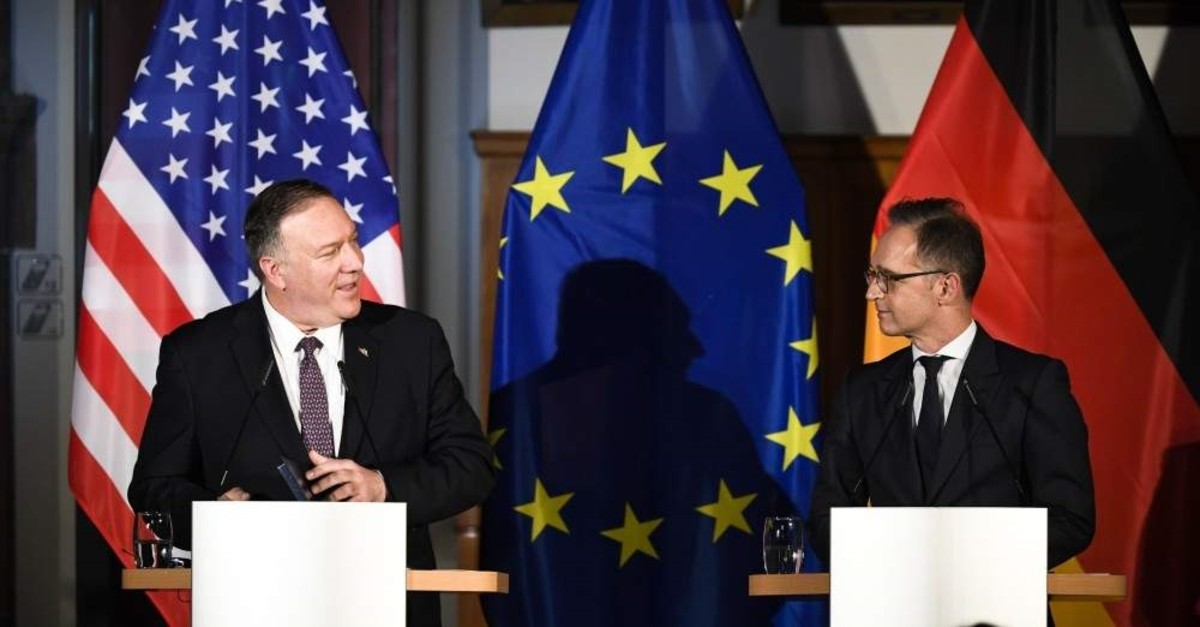 German Foreign Minister Heiko Maas (R) and United States Secretary of State Mike Pompeo (L) brief the media during a news conference in Leipzig, Germany, Thursday, Nov. 7, 2019. (AP Photo)