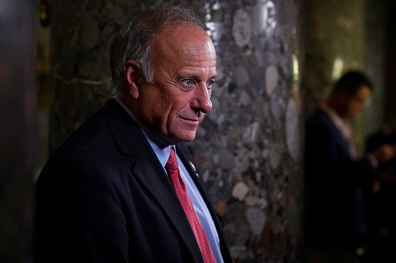 Rep. Steve King (R-IA) takes questions from a reporter after a meeting on the House Floor regarding an immigration bill which was postponed in the U.S. Capitol in Washington, U.S., June 22, 2018. (Reuters Photo)