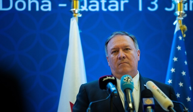 U.S. Secretary of State Mike Pompeo holds a joint press conference with Minister of Foreign Affairs Sheikh Mohammed bin Abdulrahman Al-Thani (not pictured) at the Sheraton Grand in the Qatari capital Doha, Qatar January 13, 2019. (Reuters Photo)