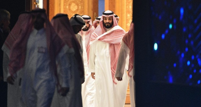 Saudi Crown Prince Mohammed bin Salman arrives to attend a session during the Future Investment Initiative (FII) conference in the capital Riyadh, Oct. 24.