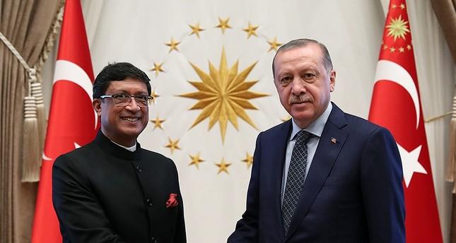 President Recep Tayyip Erdoğan is pictured with Indian Ambassador to Turkey Sanjay Bhattacharyya.