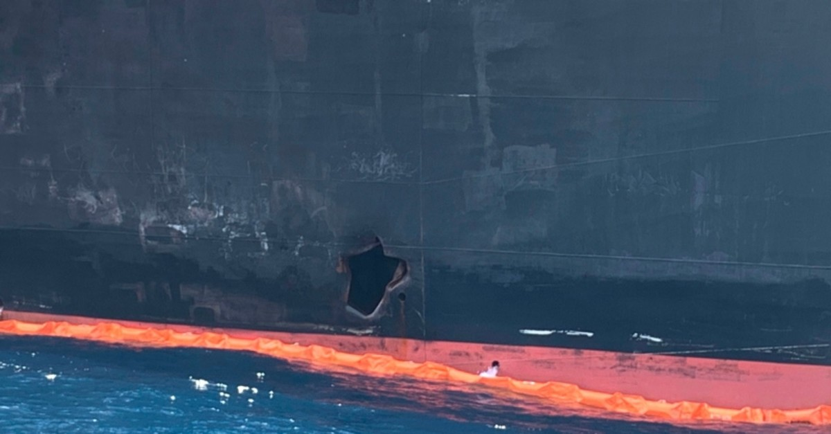 A picture taken during a guided tour by the US Navy (NAVCENT) shows the damage of Japanese oil tanker Kokuka Courageous off the port of the Gulf emirate of Fujairah on June 19, 2019. (AFP Photo)