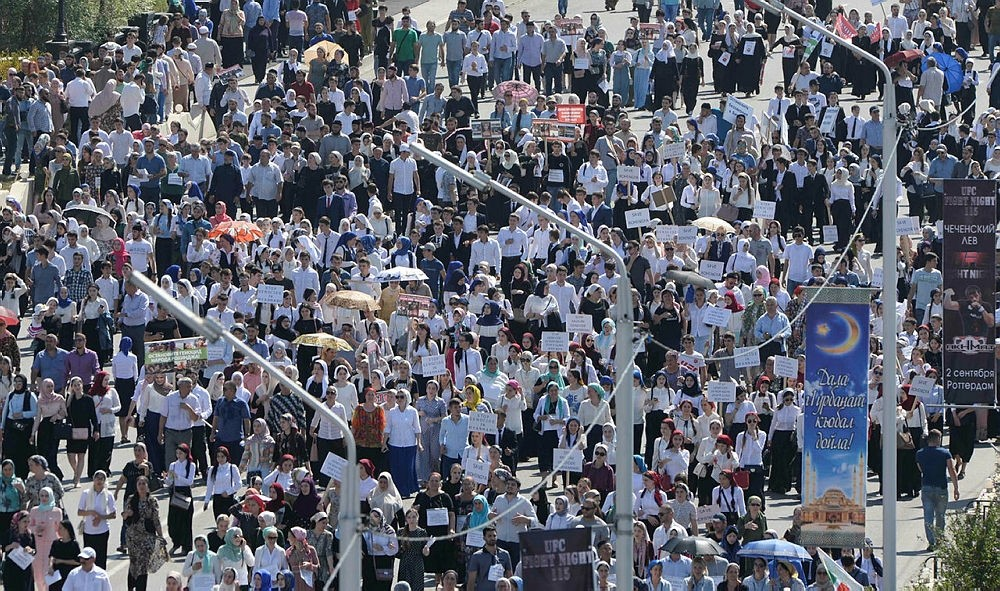 People take part in a rally in support of Muslim Rohingya following the recent violence, which erupted in Myanmar, in the Chechen capital Grozny, Russia September 4, 2017. (REUTERS Photo)