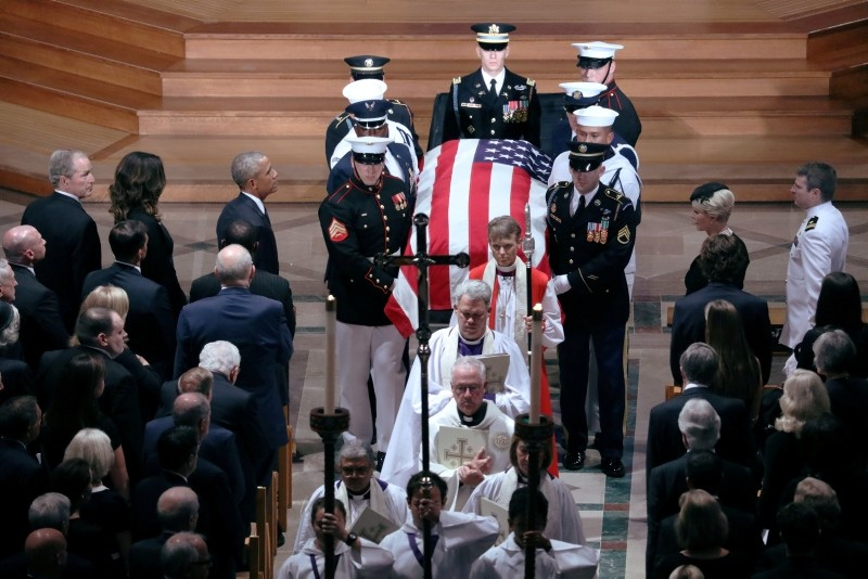 The casket is pictured leaving the memorial service of U.S. Senator John McCain (R-AZ) at National Cathedral in Washington, U.S., September 1, 2018. (Reuters Photo)
