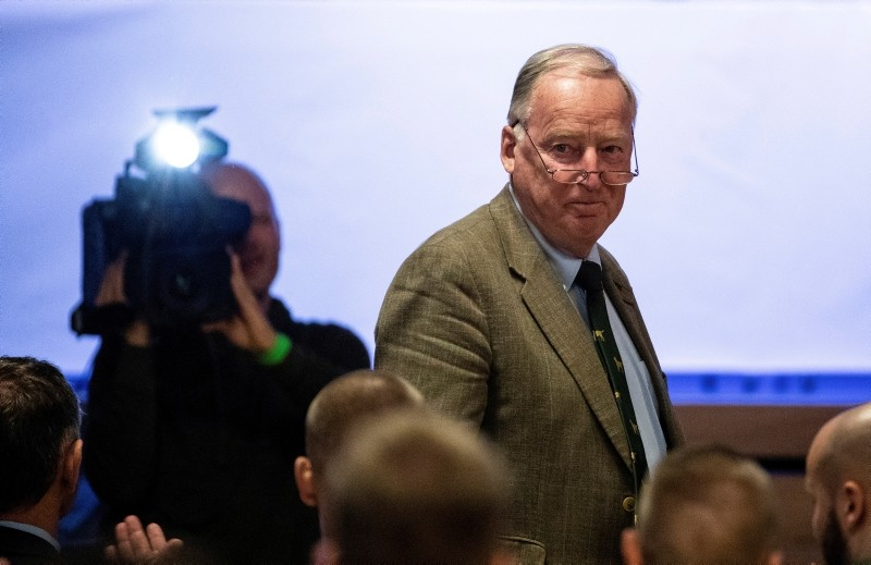 Alexander Gauland, co-faction leader of the Alternative for Germany, AfD at the federal parliament Bundestag. (DPA via AP)