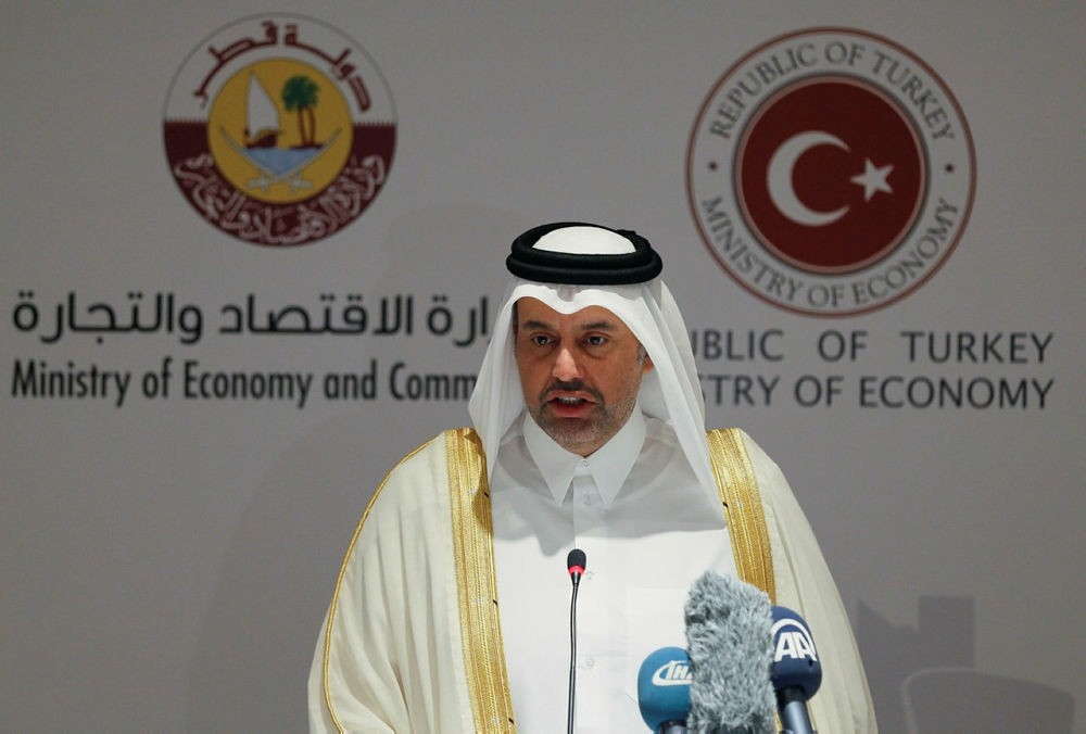 Qatari Economy and Commerce Sheikh Ahmed bin Jassim bin Mohammed al Thani speaks at Turkey-Qatar business forum in western Turkish province of Izmir on August 3, 2017. (AA Photo)