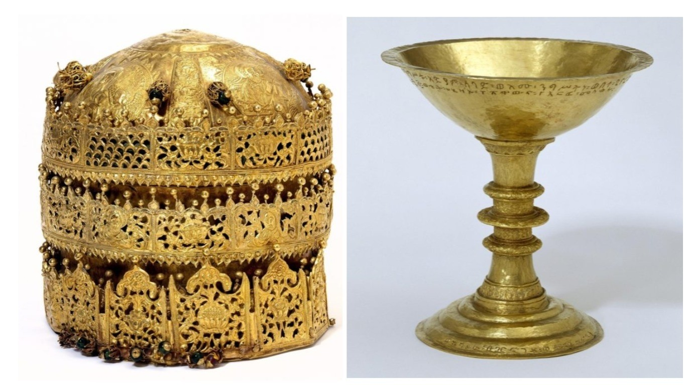 Crown, probably made in Gondar, Ethiopia, around 1740 (left) and Chalice made by Walda Giyorgis in Gondar, Ethiopia, 1735-40 (right). (The Courtesy of the Victoria and Albert Museum)