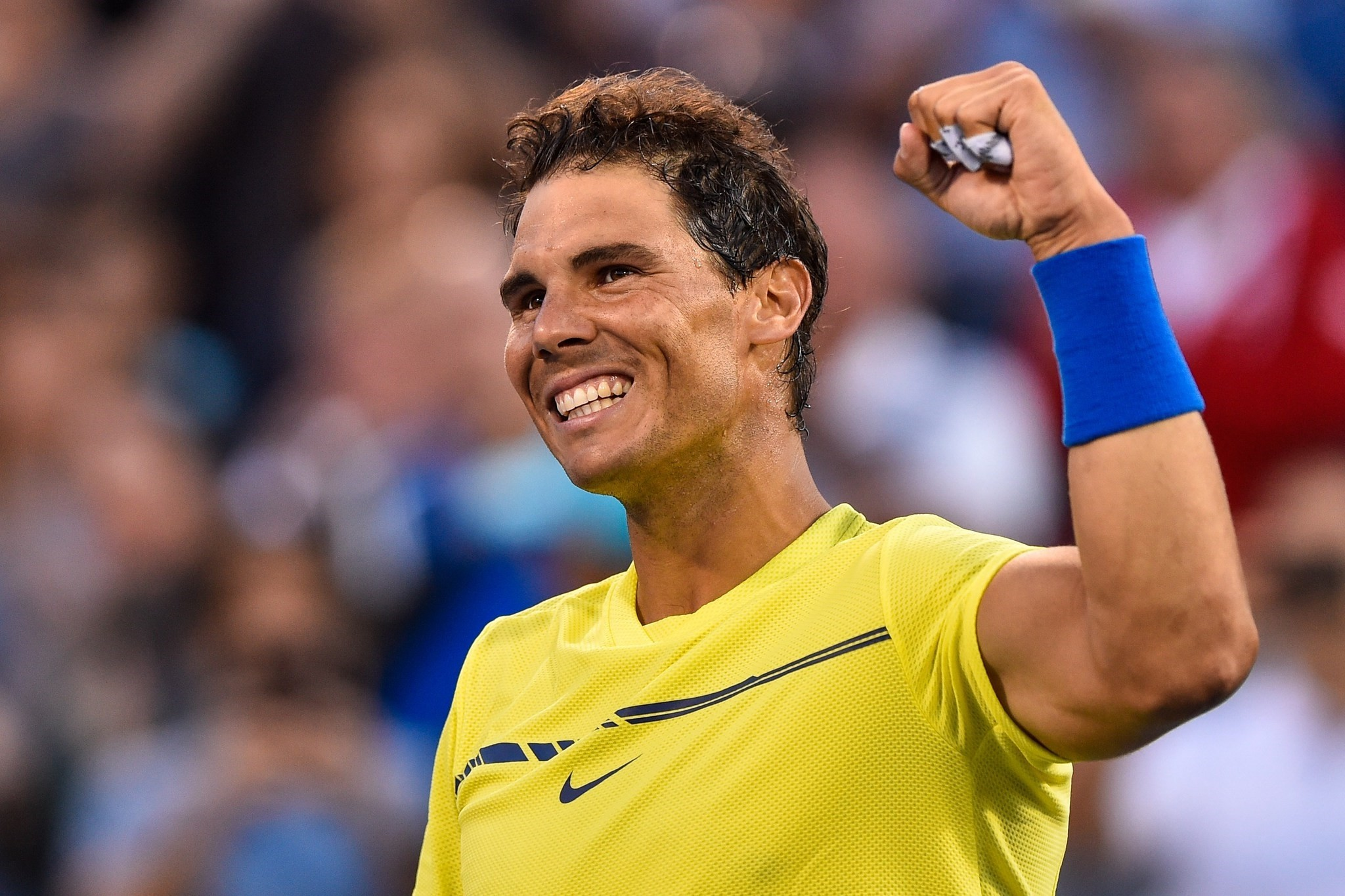 Rafael Nadal of Spain celebrates his victory over Borna Coric of Croatia on August 9, 2017 in Montreal, Canada. (AFP Photo)