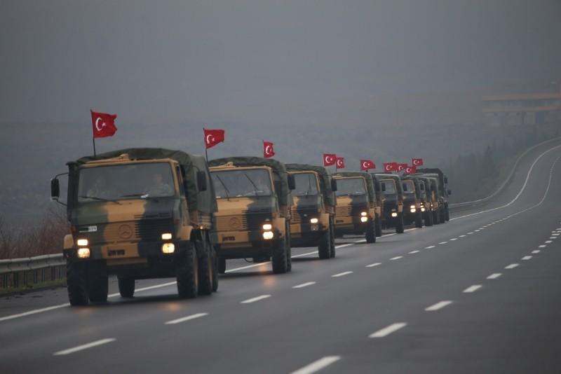Turkish military convoy is seen passing through southeastern u015eanlu0131urfa province while on way to Mardin province, Jan. 2, 2019. (AA Photo)