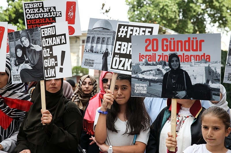 Demonstrators gather in Istanbul's Taksim Square to show support for Ebru u00d6zkan, a Turkish national who was detained in Israel on June 11. (AA Photo)
