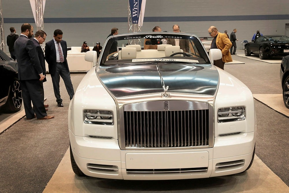 Rolls-Royce shows off a $492,000, 453 horsepower, Phantom Drophead Coupe at the Chicago Auto Show on February 8, 2018 in Chicago.