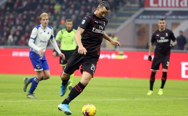 Ibrahimovic in action during the match against Sampdoria in Milan, Jan. 6, 2020. EPA Photo