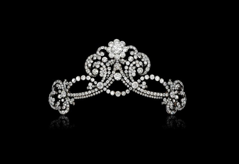 This undated handout photo released by Sotheby's Geneva shows a diamond tiara given by Emperor Franz Joseph to his great-niece Marie Anna of Austria, expected to sell for $80,000-120,000. (AP Photo)