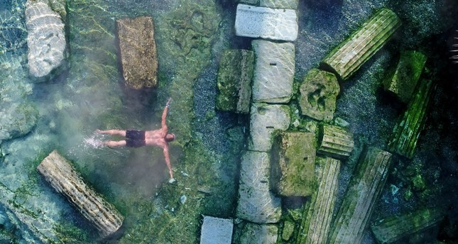 The healing waters of Pamukkale have been used as a treatment center since the ancient times. Tourists are able to swim in the pools in which lie in the remains of the ancient city of Hierapolis.