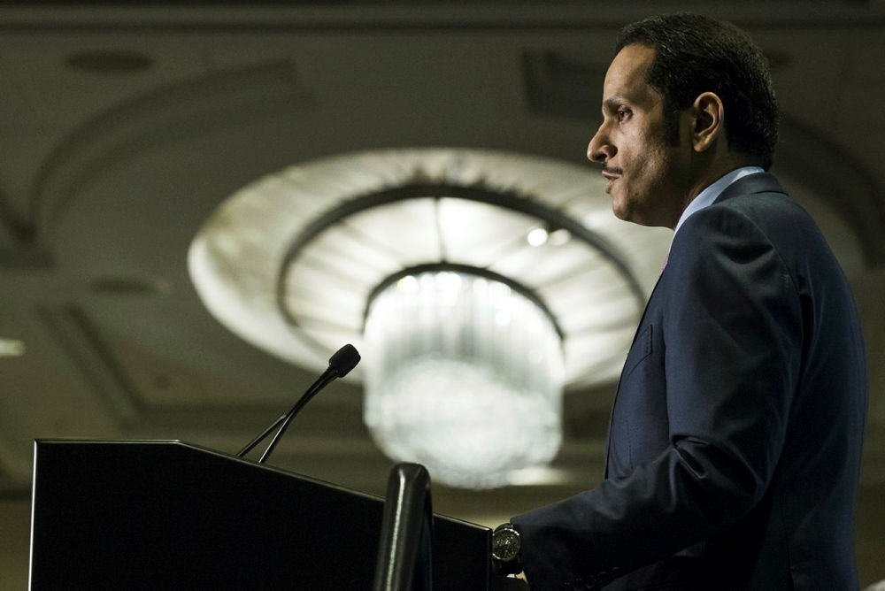 Qatari Foreign Minister Sheikh Mohammed bin Abdulrahman al-Thani speaks at a conference at the Arab Center of Washington on June 29, 2017. (AA Photo)